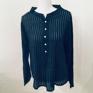 👍Semi Sheer Pin Strip Shirt, Navy.